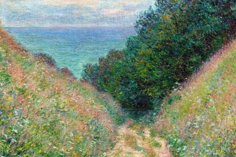 French traditional art claude monet vegetation impressionism wallpaper