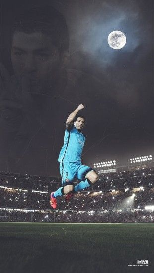 Luis Suarez celebrating a goal at the Camp Nou. This wallpaper was created  by superimposing 3 different pictures and blending them together to seem  like a ...
