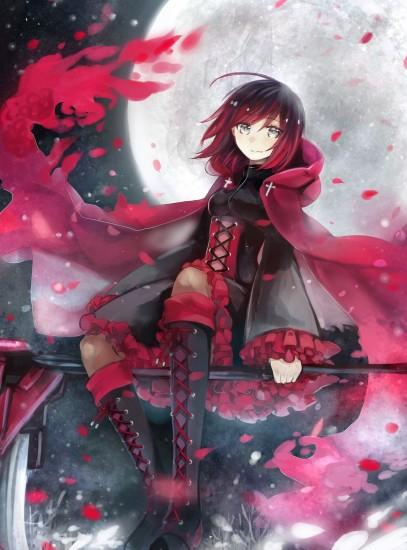 Anime 1503x2032 anime anime girls RWBY Ruby Rose (character) dress weapon  short hair