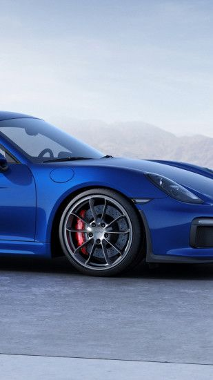 1440x2560 Wallpaper porsche, cayman, gt4, blue, side view
