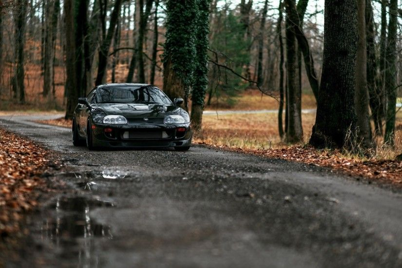 car, Forest, Road, Toyota Supra, Tuning, Dirt Road, JDM