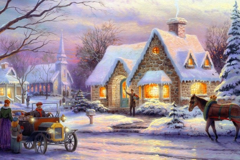 Thomas Kinkade Wallpaper, Memories of Christmas, art, painting, winter,  snow,