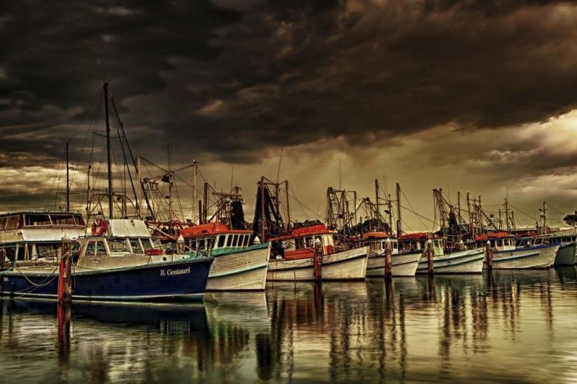 Fishing Boats Marina Under Stormy Skies