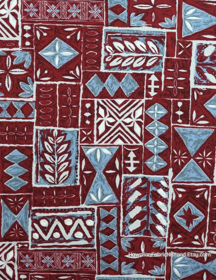 Fabric: Traditional Hawaiian tapa print in reds. By  HawaiianFabricNBYond.Etsy.com