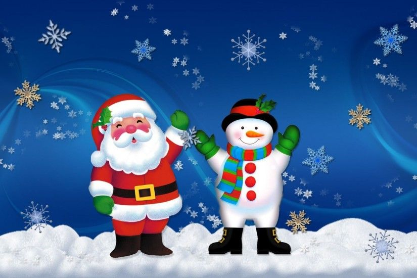 Merry Christmas Santa Claus And Snowman Old Friends Hd Wallpapers 2560x1440  : Wallpapers13.com