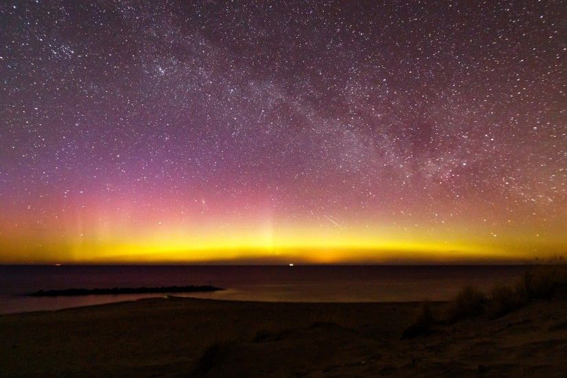 Preview wallpaper northern lights, milky way, starry sky, aurora, denmark  3840x2160