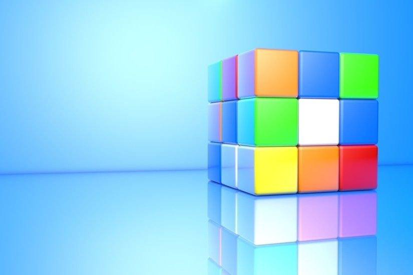 Colorful 3D Rubik's Cube wallpaper 1920x1080 jpg