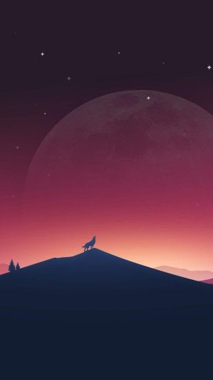 Download Wolf Howling At The Moon HD wallpaper for Nexus 6P .