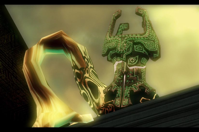 The next we see, it begins to rain and Link is holding Midna in front of  Hyrule Castle with the Twilight now gone.