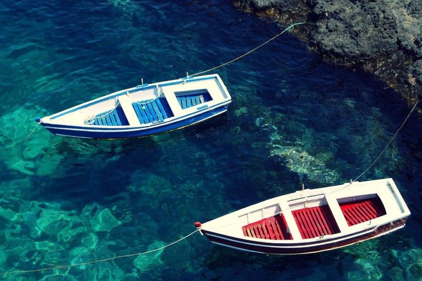 HD Water Blue Red Boats Sea Beaches Free Desktop Background Wallpaper