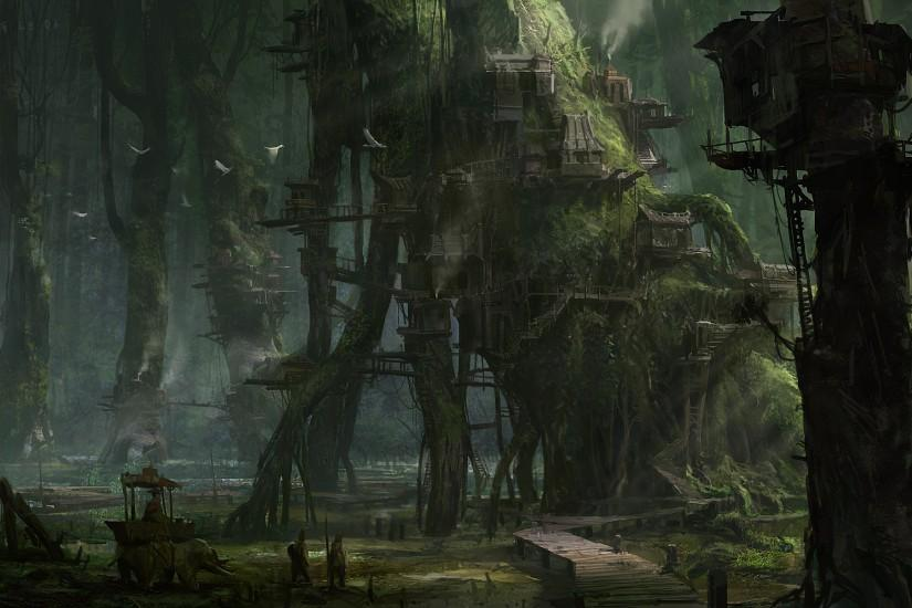 Khang Le nature landscapes trees forests fantasy world dark fog mist haze  detail architecture buildings houses moss art artistic paintings village  town ...