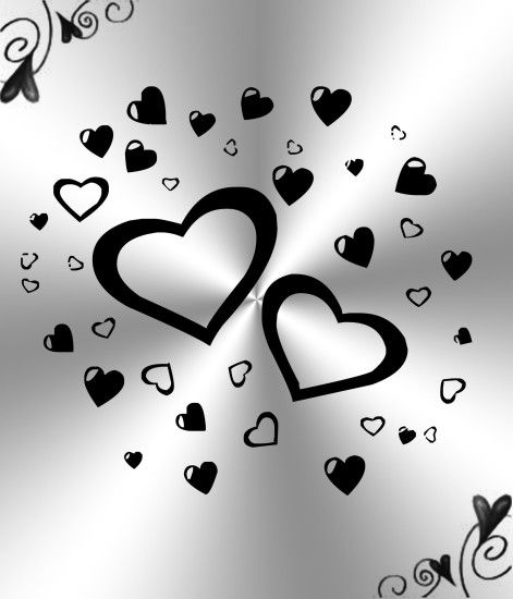 ... White And Black Hearts Background by Princessdawn755