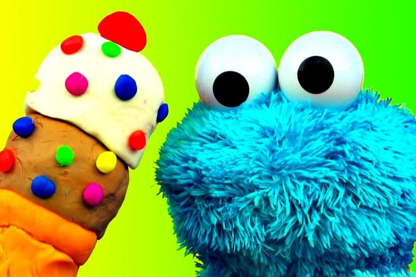 Cookie Monster Loves Ice-Cream Cones & Sweet Cookies! Sesame Street .