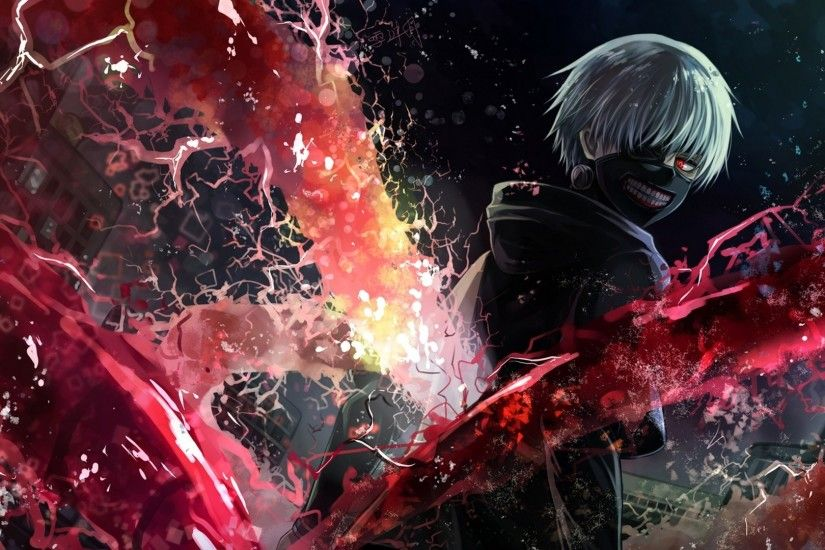 Preview wallpaper tokyo ghoul, kaneki ken, man, mask, magic, art 1920x1080