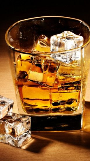 Preview wallpaper whiskey, drink, alcohol, ice cubes, glass, table, shadow