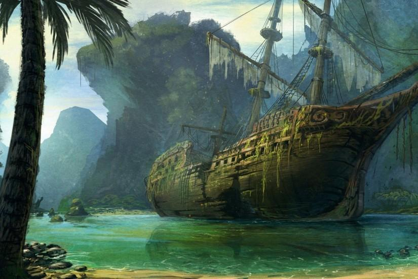 Some decrepit ship. Pirate skeleton wallpaper ...