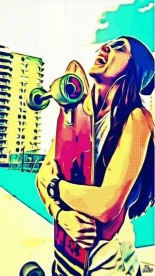 skateboard, Women, Digital Art, Happy Face, Happy, Happiness Wallpapers HD  / Desktop and Mobile Backgrounds