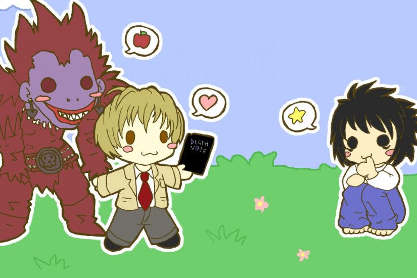 Preview wallpaper chibi, death note, l ryuk yagami, boy, girl, creature