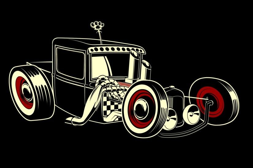 Rat rod hot retro vector emgine cartoon wallpaper | 2250x1500 | 43228 |  WallpaperUP