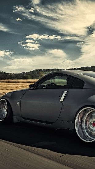 Preview wallpaper nissan, 350z, stance, movement, speed, side view 1440x2560