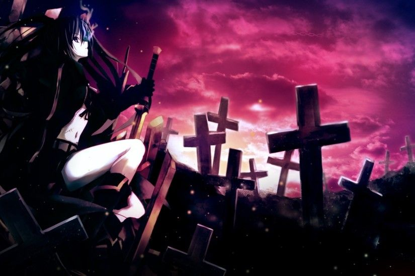 Preview wallpaper anime, girl, thoughtful, sword, cemetery, darkness  1920x1080