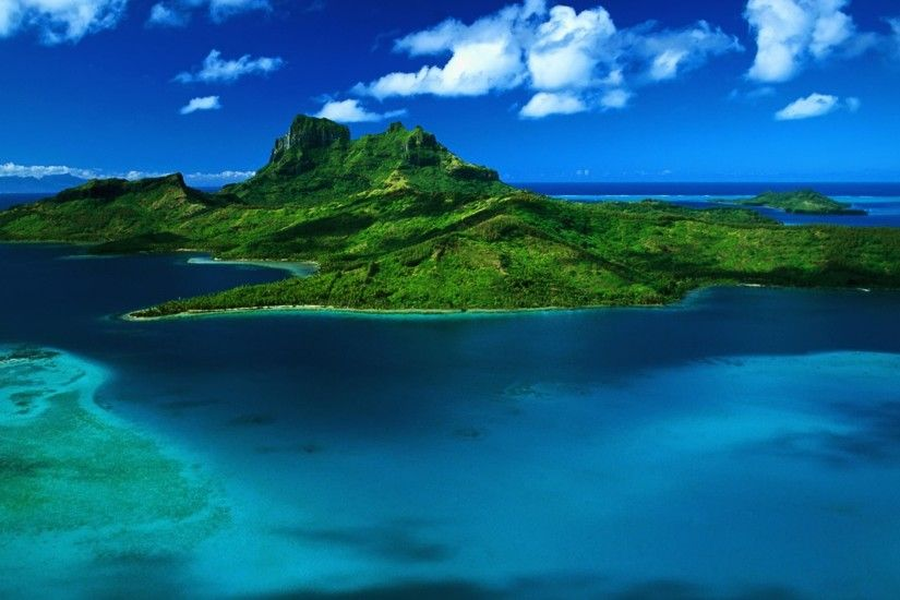 3840x2160 Wallpaper bora bora, island, sea, greens, land