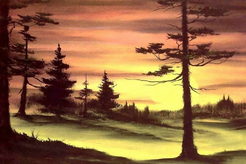 painting bob ross bob ross pattern nature sunset sun forest tree