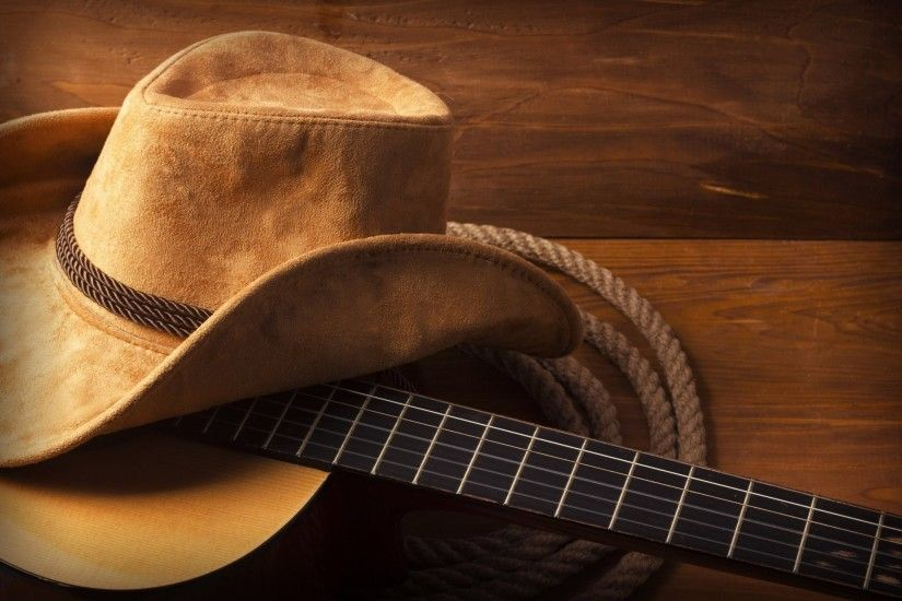 hat guitar wood rope cowboy