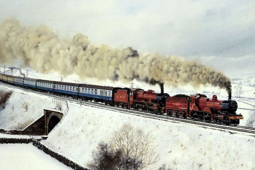 Twin Engine Steam Train Passenger Winter hd wallpaper #