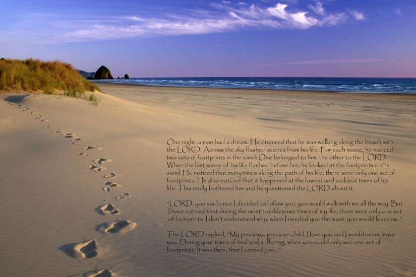 Religious - Christian Love Religion Sand Lord Footprint Wallpaper