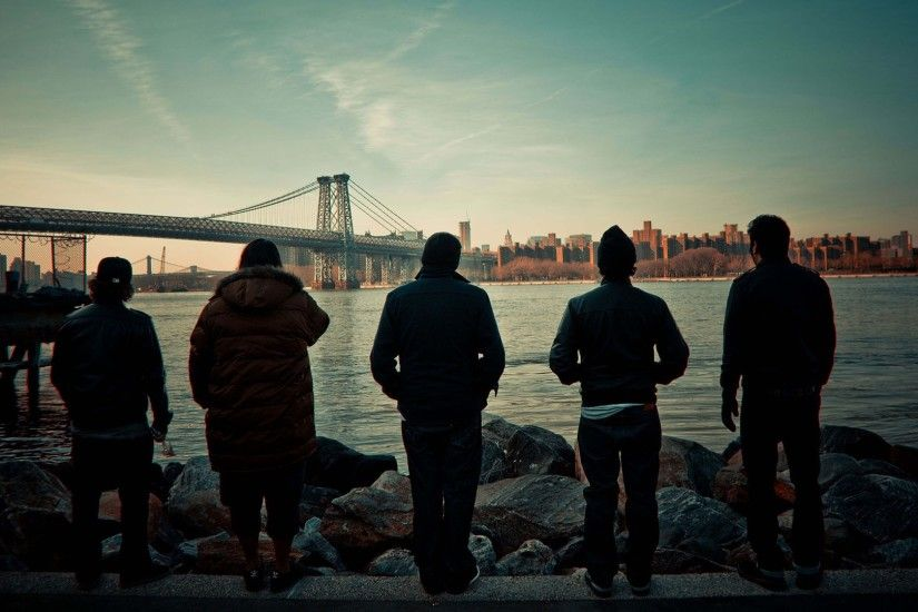 Preview wallpaper deftones, city, bridge, sunset, sky, clouds 1920x1080