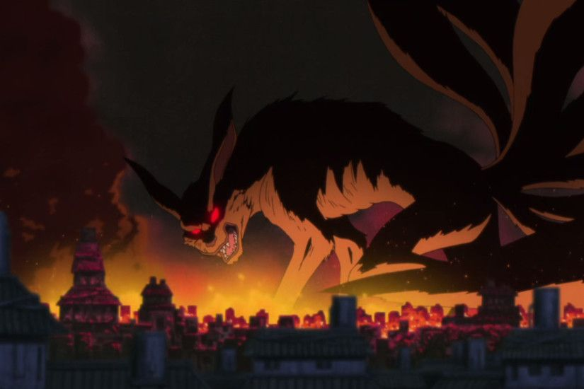 The Nine-Tails attacking Konoha.
