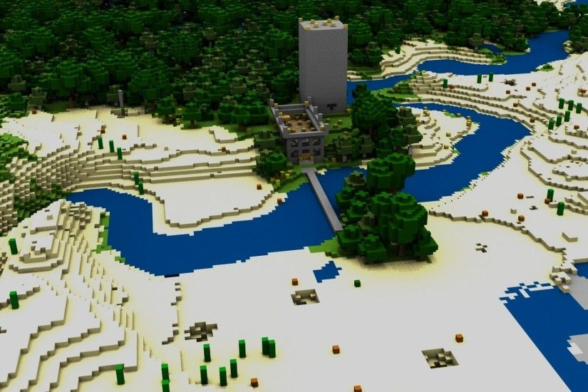 Preview wallpaper minecraft, house, bridge, river, trees 2048x1152