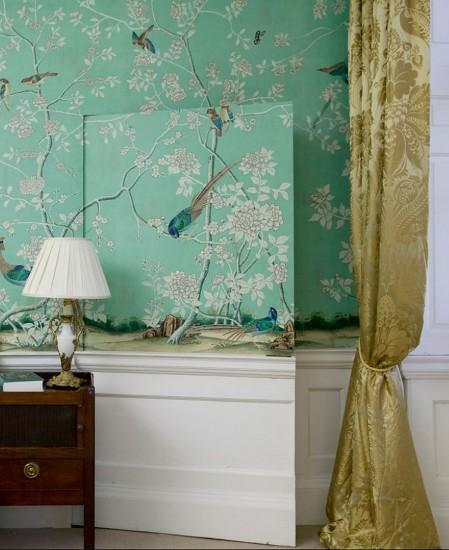 Chinoiserie wallpaper 'Earlham' design in full custom design colours on  Sung Blue Williamsburg with