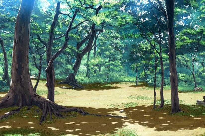 Forest Nature Anime Scenery Background Wallpaper