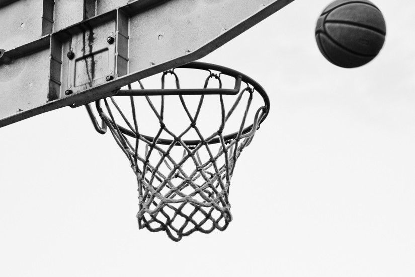 Preview wallpaper basketball, net, ring, bw 2048x1152