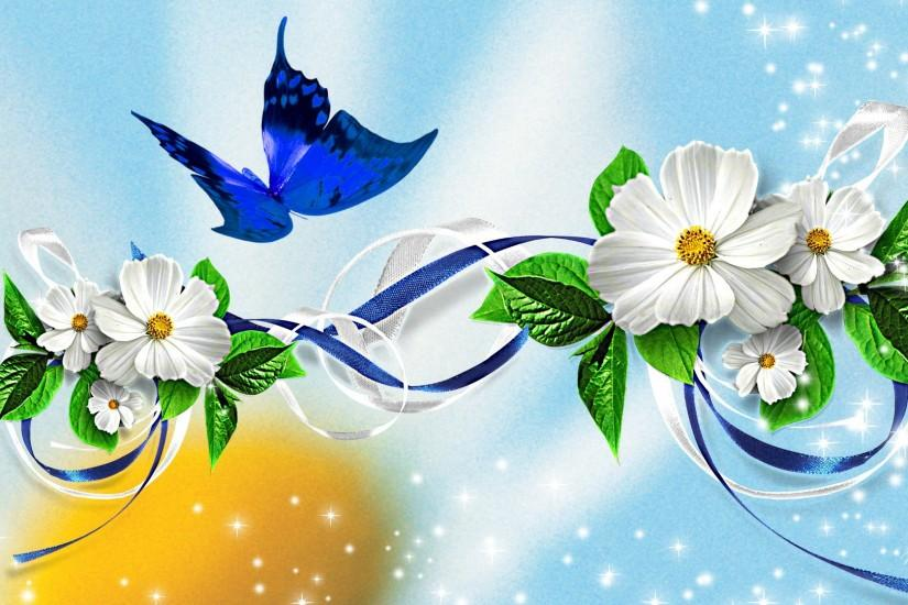 Awesome Butterfly Ribbon Blue HD Wallpaper | Unique HD Wallpapers