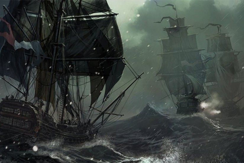 Wallpapers :: water, ocean, snow, rain, storm, ships, 2D
