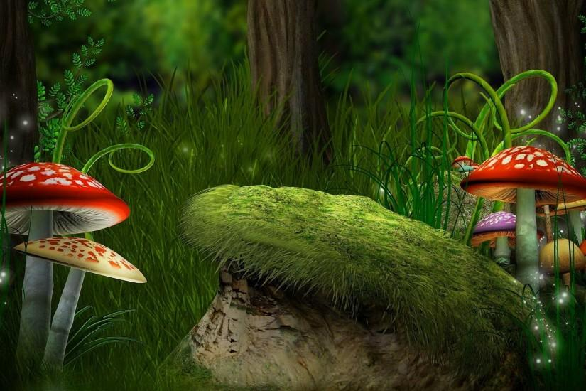 Fantasy - Forest Grass Mushroom Fantasy Wallpaper