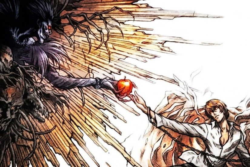 Preview wallpaper death note, light yagami, ryuk, the creation of adam, art