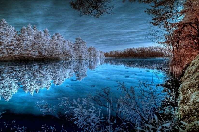 Dreamy Tag - Cool Sky Dreamy Dark Deep Basin Blues Beautiful Sapphire  Infrared River Photo Wallpaper