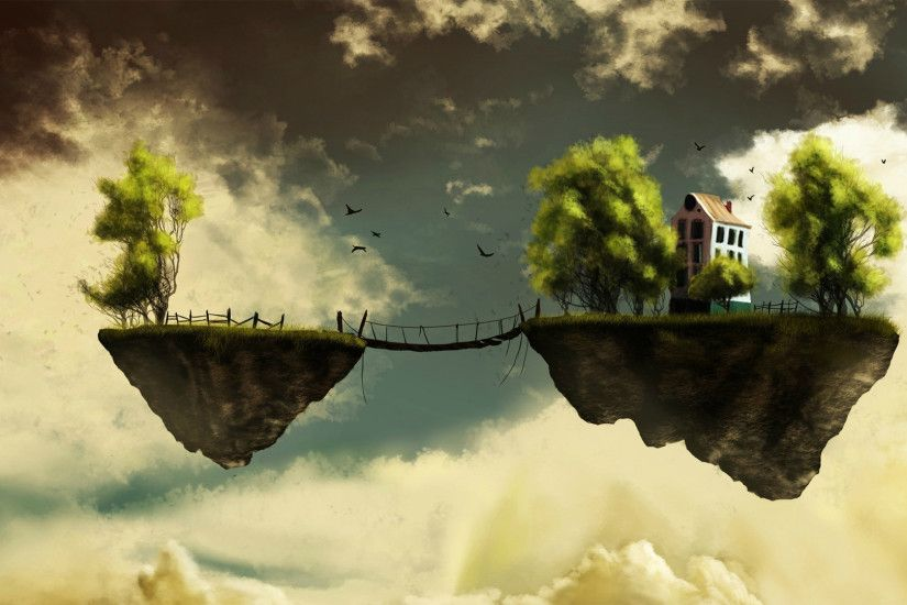 Bridge between two floating islands wallpaper