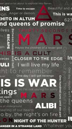 Preview wallpaper 30 seconds to mars, words, symbol, figures, name 1080x1920