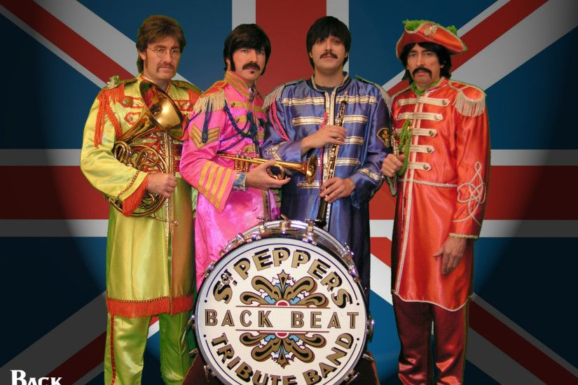 Promotional Picture of Backbeat A Tribute in Sgt Peppers Costumes