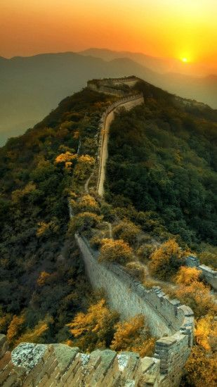 1080x1920 Wallpaper the great wall of china, grass, top view, beautifully