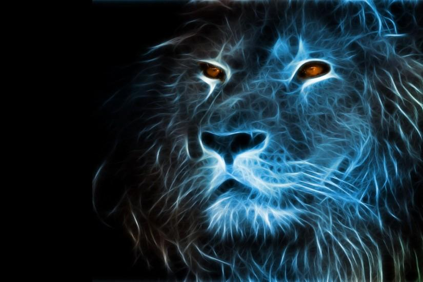 White lion with blue background logo - photo#31