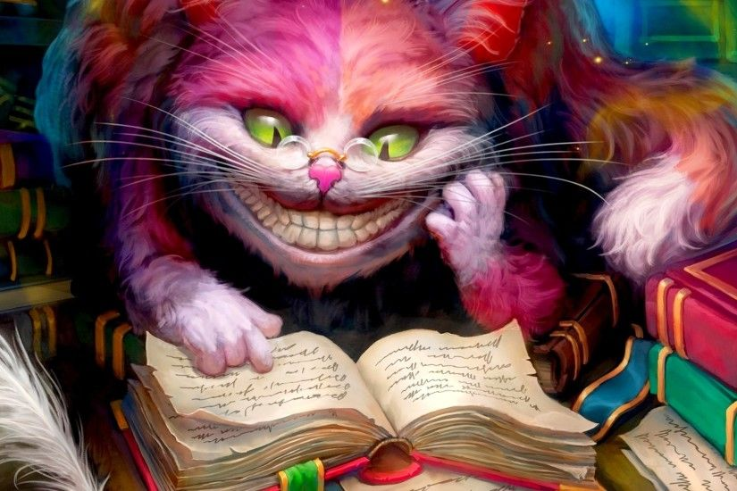 Alice In Wonderland, Cheshire Cat, Books, Smiling, Artwork Wallpapers HD /  Desktop and Mobile Backgrounds