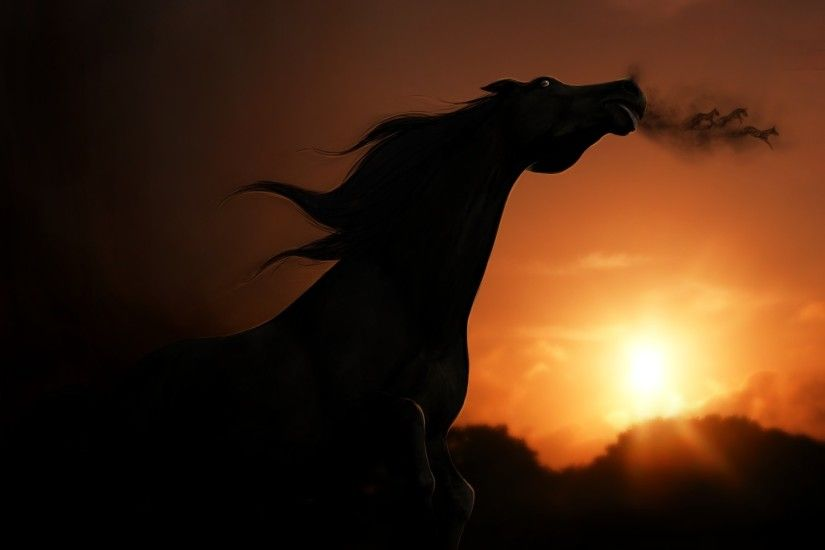 Sunset View Horse Rendering Shadow Wallpaper At Fantasy Wallpapers