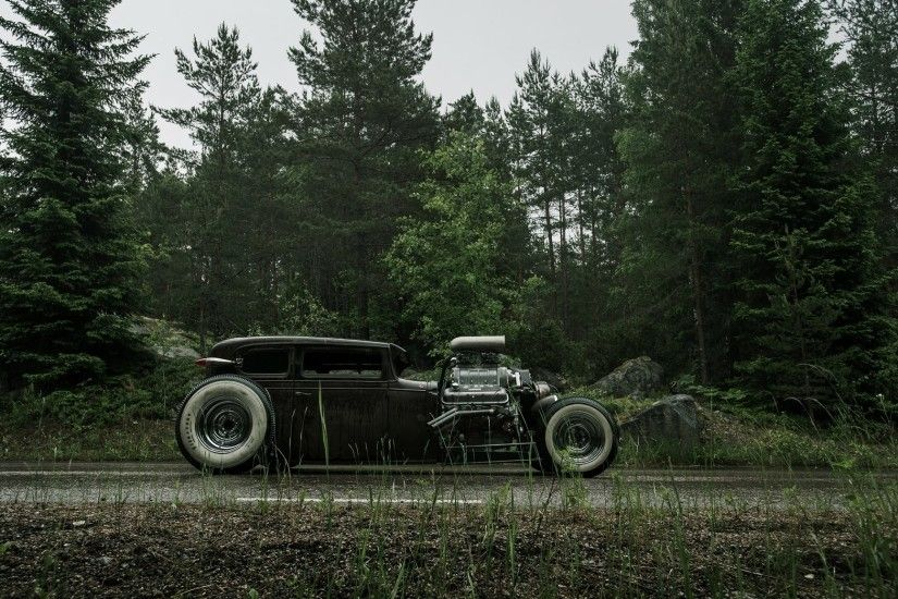 chevrolet chevy hot rod rat rod v6 540ci on the side shoulder wet road  forest