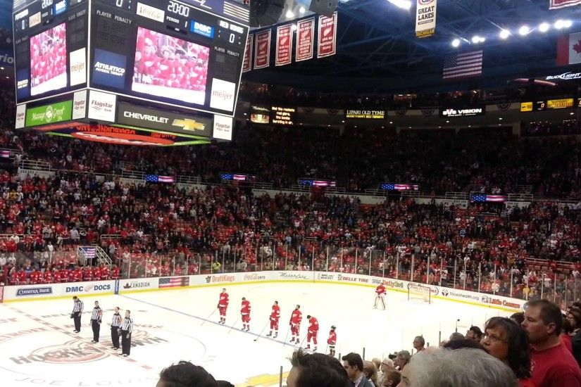 National anthem at the Detroit red wings hockey game